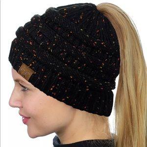 Black ponytail beanie hat